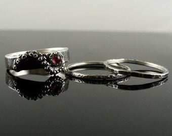 Distressed Tourmaline Stacking Rings, OctopusME Jewelry, Tentacle Rings, Octopus Jewelry, Engagement Rings
