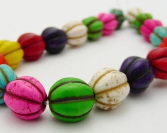 Colorful Dyed Howlite Turquoise 10mm Pumpkin Beads-R