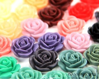 10 pcs Resin Rose Flowers with Flat Backs 19mm in Assorted Colors. 10 pack. AH19RFROSE