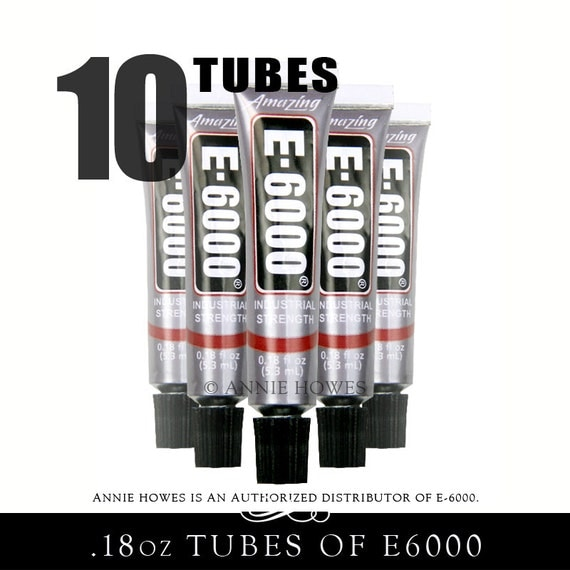 10 Pack of E-6000 Jewelry and Craft Adhesive .18 oz Tubes. Annie Howes is an Authorized Distributor of E6000. Made in USA.  230400-10
