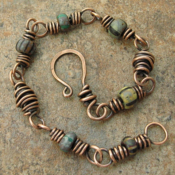 Wire Bracelets With Charms 2: Copper Wire Bracelet Trade Beads Earthy Ethnic