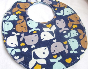 Baby Boy Bib - Whale Tales - Cotton Bib with Terry Cloth Backing