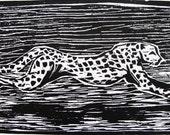 C for Cheetah (woodcut)