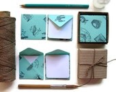Birds and Nests, Mini Stationery Set, Baby Shower, Green Envelopes, Aqua Green, Blank Note Cards, Square Envelopes, Cute Stationery