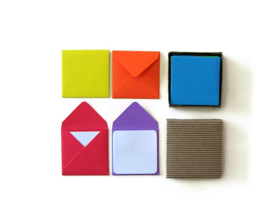 Mini Stationery Set: Solid Color Envelopes and White Cards