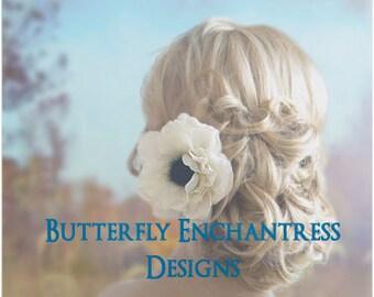 Ivory Hair Flower, Rustic Woodland Wedding, Bridal Hair Accessories - Ivory Rachelle Anemone Bridal Hair Flower Clip