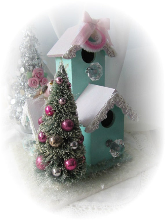 Shabby Sweet Christmas Aqua Triple Bird HOUSE PINK Roses Bottle Brush Tree Chic ECS