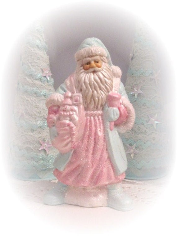 AquaPINK SANTA Claus St Nick Figurine By RoseChicFriends