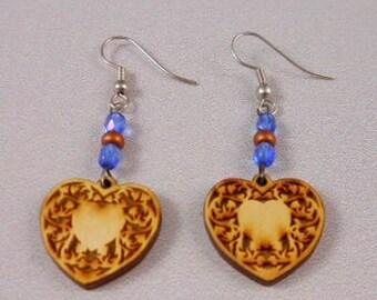 Wooden laser cut heart earrings - Very cute