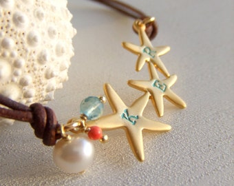 Starfish Jewelry Bracelet - 16K Gold Plate Starfish - Personalized Letters - Best Friends - Sisters - Pearl - Coral - Beach - Gift for Her