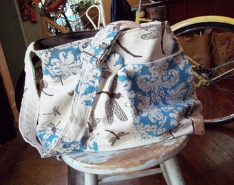 Extra Deep Diaper Bag - 6 Pockets - Key Fob - Adjustable Strap - Hard Bottom - Dragonflies