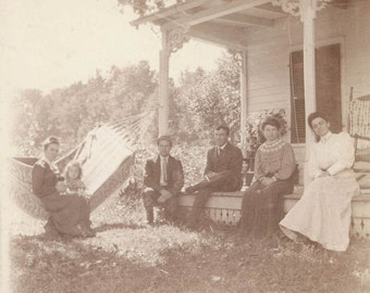 vintage photo FAmily in Hammock and front Porch 1900 albumen