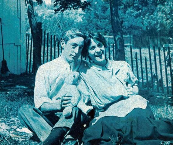 vintage photo 1908 Happy COuple w Steiff Teddy Bear Cyanotype