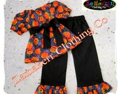 3t 3 ONLY CLEARANCE SALE Girl Halloween Outfit Set Pant Toddler Custom Boutique Clothing Girl Halloween Pumpkin Peasant Gift size 3T 3