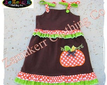 Girl Fall Thanksgiving Pumpkin Turkey Dress Custom Boutique Clothing Halloween Outfit Size Set 3 6 9 12 18 24 month size 2T 3T 4T 5T 6 7 8
