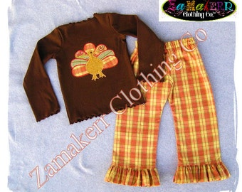Girl Fall Turkey Outfit Knit Tee Thanksgiving Toddler Infant Baby Clothing Brown Dress Pant Set 3 6 9 12 18 24 month size 2T 3T 4T 5T 6 7 8