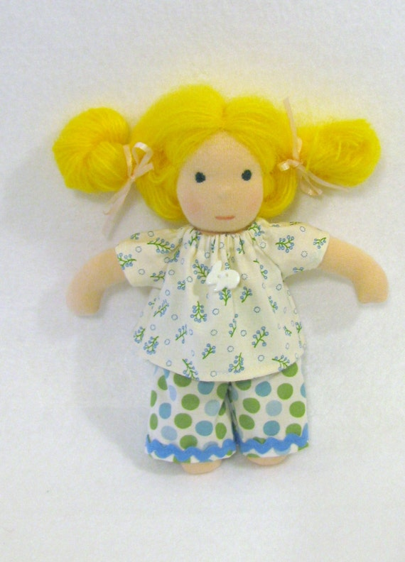 Sweet bunny button top with dotted pants set for 8 inch waldorf doll