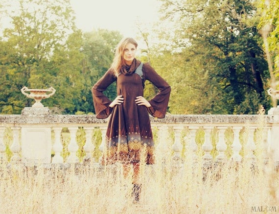 Blue and brown dress, bell sleeves, long dress, with black leather harness - sz S