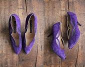 1980s vintage purple suede mesh heels 8