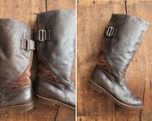 vintage leather boots / motorcycle boots / brown leather boots