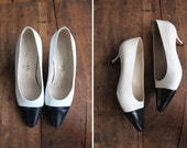 vintage Chanel heels / capped toe shoes / size 6.5 Chanel