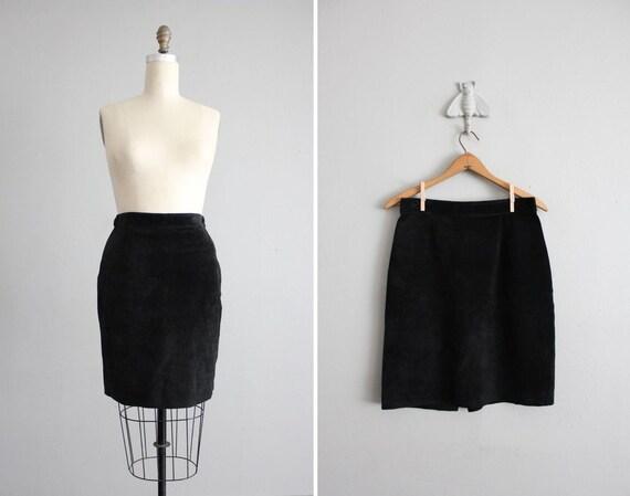 vintage short black suede leather skirt