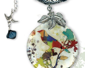 The Artful Bird Glass Necklace - BOTANCIALZ Collection by Tzaddishop - Reversible Glass Art Jewelry