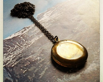 long locket necklace - gunmetal and brass