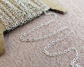 3 feet - Silver sterling flat cable chain 1.4mm
