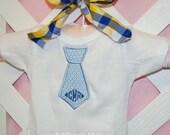 Little Boy Monogrammed Personalized Tie Appliqued Onesie