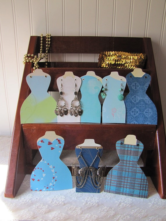 Reserved for Leslie   Dressmaker Form Earring Holder Display Stand set of 8 Betsy