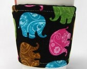 Coffee Cozy, Cup Sleeve, Eco Friendly, Slip-on, Teacher Appreciation, Co-Worker, Bulk Discount: Teal, Pink, Green,  Brown Paisley Elephants