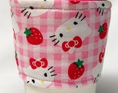 Coffee Cozy/ Cup Sleeve Eco Friendly Slip-on, Teacher Appreciation, Co-Worker Gift: Hello Kitty Pink Gingham