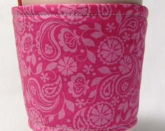 Coffee Cozy, Cup Sleeve, Eco Friendly, Slip-on: Pink Paisley and Floral