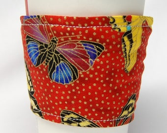 Coffee Cozy, Cup Sleeve, Eco Friendly, Slip-on, Teacher Appreciation, Co-Worker Gift, Bulk Discount: Butterflies on Red
