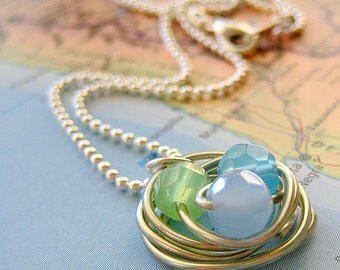 Wire-Wrapped Robin's Nest Pendant in Pale Blues and Greens on Silver Ball Chain