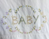Vintage 1950s baby pillowcase, embroidered