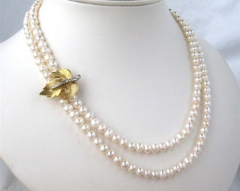 Gold Maple Leaf Pearl Necklace, Two Strand Wedding Necklace, Freshwater Pearl, Rhinestone, Handmade, Northwoods