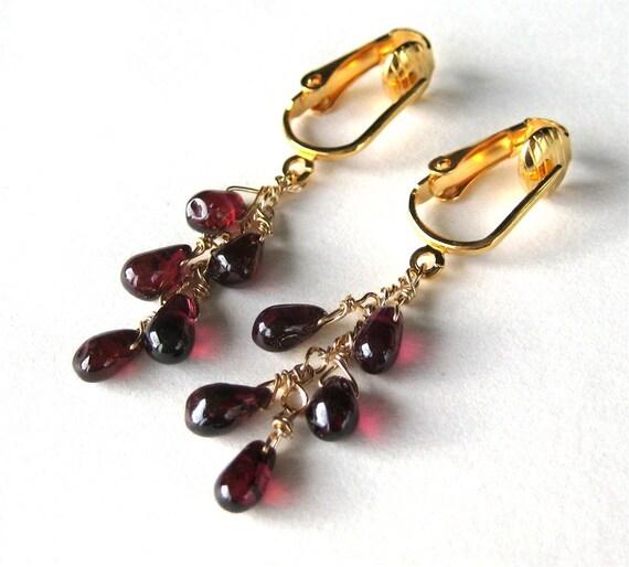 Garnet Clip On Earrings, Teardrop Cascade, Gold Clip Earrings, Burgundy, Handmade