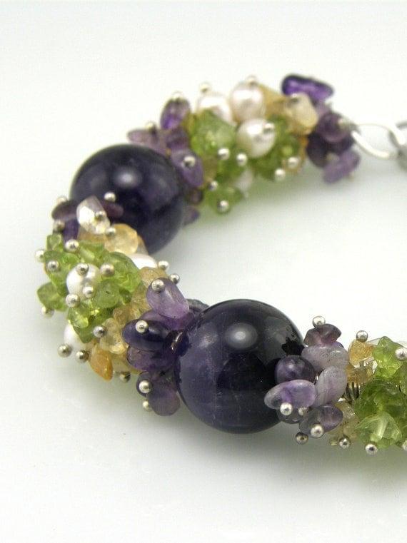 Purple and Green Gemstone Cluster Beaded Bracelet