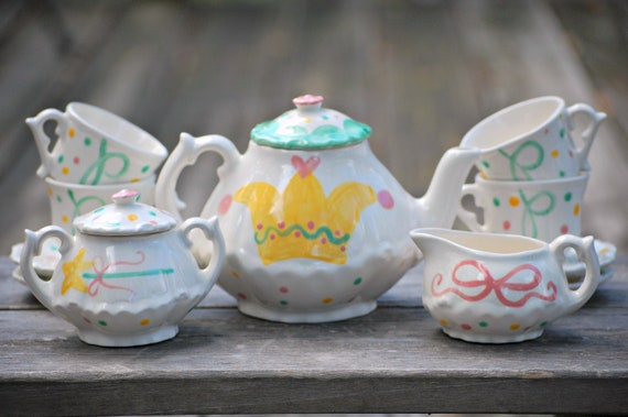 Princess Personalized Little Girl's Tea Party Child's Sized Tea Set  Handpainted. . . Teapot, creamer, sugar bowl and 4 matching tea cups