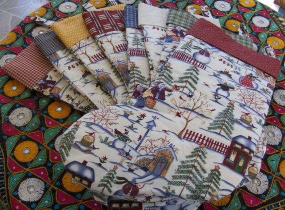 RESERVED for Kirstynn7 !! - Handmade Christmas Stockings - Snowman Village - Country Prints
