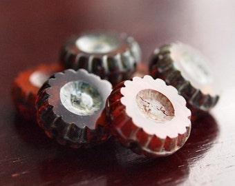 Autumn Orange Chunky 13mm Czech Glass Wheel Bead  : 6 pc