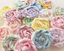 "Fabric Flowers Pastel Rolled Roses Candy Applique Hairclip Pinwheel Lollipop Bobby Pin Rosette 1"" Scrapbook Handmade Wholesale 20"