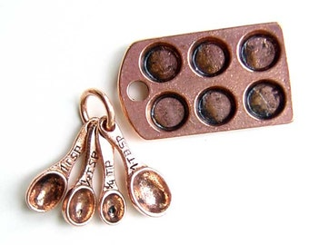 Baking Kitchen Charms Muffin Tin Cupcake Pan Measuring Spoon Copper Color