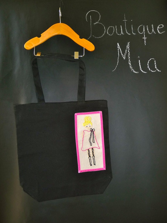 SAMPLE -  Canvas Tote - Hand Embroidered Mod Girl - by Boutique Mia and More - Ready To Ship