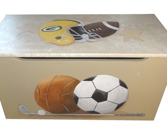 Childrens wooden toy box - Go sports fans Go