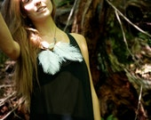 Statement Necklace - White Feather Necklace - New Fall Collection Feux Follets