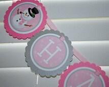 SNOWMAN Birthday Banner / Snowman Girl Birthday Banner / Snowman Banner / Winter Onederland Banner / Winter Wonderland Banner / pink silver