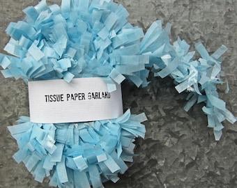 Light Blue Tissue Paper Garland, Streamer Backdrops, 25 feet Paper Fringe, Baby Boy Birthday Garland, Wedding Shower Garland, Easter Pinata
